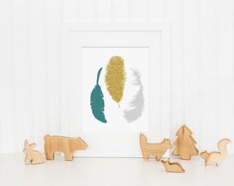 Tribal Nursery Art Print, Teal Nursery Decor, Feather Nursery Wall Art - Baby Girl Nursery Art, Baby Boy Nursery Decor - Kids Bedroom Art