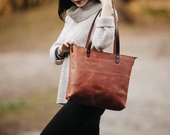 Women's leather tote bag Small tote bag Leather purse Women's tote Carryall Shopper Women's gift Birthday gift leather Tote by Kruk Garage