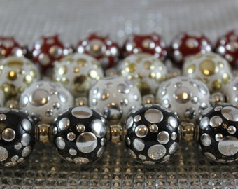 Tibetan style beads with metal spots, 18mm and 20mm