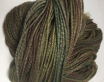 """Handspun Hand Painted Wool Yarn - Worsted weight - 298 yards, 3.5 ounces - """"Beech Forest"""" (green and brown)"""