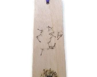 Wooden bookmark - Wood bookmark - Dandelion bookmark - Make a wish bookmark - Handmade bookmark - Unique bookmark - Fairy bookmark - Wish