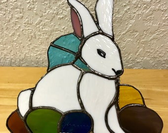 Stained Glass Easter Rabbit with Colored Eggs