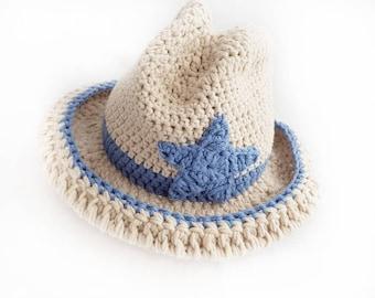 Baby Cowboy Hat / Western Cowboy Hat / Crochet Cowboy Accessories / Baby Photo Props / Merino Wool Beanie / Baby Boy Hat / Baby Shower Gifts