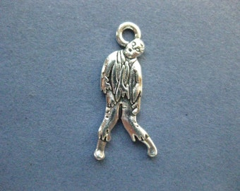 10 Zombine Charms -  Zombie Pendants - Zombie - Antique Silver - 17mm x 26mm --(No.55-11197)