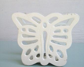 Butterfly Letter Holder White Cast Iron
