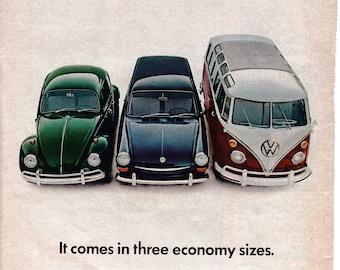1967 VW Beetle Squareback Microbus Volkswagen Original Magazine Ad Small Med Lg