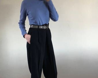 pleated trousers / baggy pants / vintage high waisted pants / 80s black pants | 29W