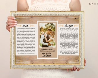 Anniversary Gift - Personalized birthday gift,  Framed Wedding Vows, Wedding Vow Print, Wedding Vow Keepsake, Wedding Vow Art