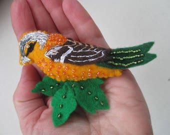 Embroidered Felt Bird Brooch, Chaffinch Bird, Felt Bird Brooch, Felt Bird