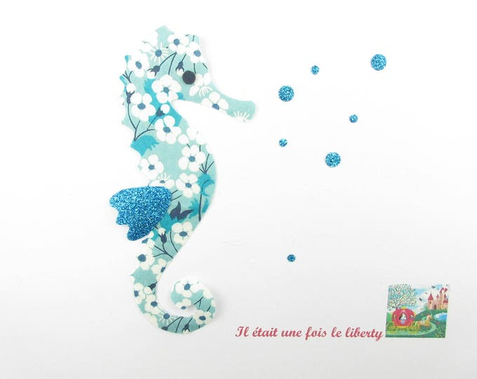 Applique liberty fusing seahorse fabric Mitsi Mint - sea horse patches glitter flex liberty fabrics seahorse pattern