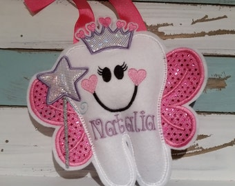 Personalized Princess Tooth Fairy  Pillow~Heart Crown~Princess Tooth Pillow~Princess Crown Tooth Fairy Pillow~Gift~Heart Tiara~Girls ~Heart