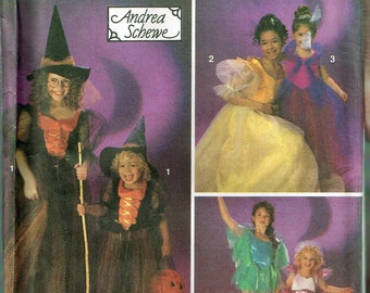 Size 8-12 Girl's Costume Sewing Pattern - Witch Costume Pattern - Princess Costume Pattern - Fairy Costume Pattern - Simplicity 8647