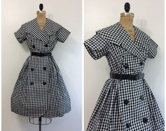 1950s Black and White Gingham Dress 50s NWT NOS