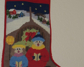 TOMMY Needlepoint Christmas Stocking with Snowman Motif