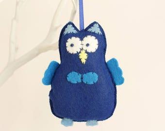Dark Blue Felt Owl, Cute Owl Decoration