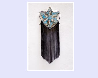 necklace with black FRINGES / charm choker, long fringe necklace