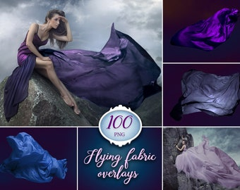 100 Flying fabric overlays, flying dress, flowing silk, photoshop overlay, photo, digital download, instant, clip art, transparent PNG file