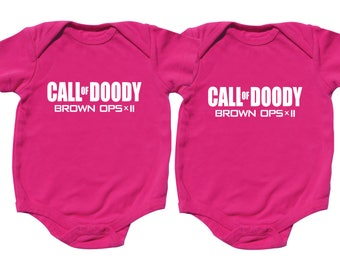 Twin Girl Baby Gifts,Call of Doody, Brown Ops x II, Hot Pink Bodysuit, Twin Girls, sizes from 0 to 12 months, Twin Baby Gifts