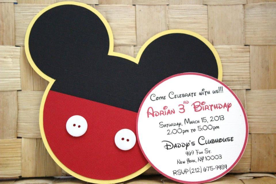 Handmade mickey mouse invitations for birthdays baby zoom filmwisefo Choice Image