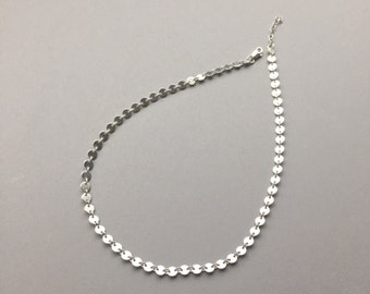 Sterling Silver Coin Choker Chain, Sequins Disk Chain, Modern Minimalist Jewelry, Festival Gypsy Layering Necklace, Everyday Jewelry for Her