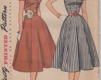 Bust 32-FACTORY FOLDED 1950's Misses' Dress With Detachable Collar Simplicity 3847 Size 14