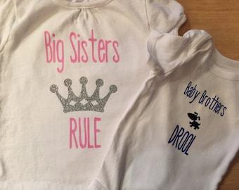 Big sisters rule, baby brothers drool DIY set