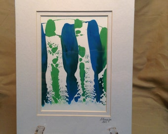 """8"""" X 10"""" Abstract Gouache painting on Yupo Paper – Double Matted and ready to be framed – Item # 492"""