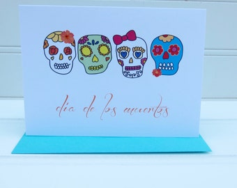 Dia de los Muertos Card, Day of the Dead Card, All Saints Day Card, Happy Halloween Card, Mexican Card, Sugar Skull Card, for Latina friend
