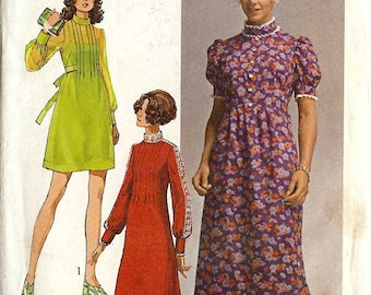 Simplicity 9080 Maxi/Mini Dress semi fitted bodice puff sleeves waist ties Size 9 Vintage