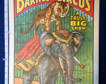 Circus Tiger on top of Elephant copyrighted 1960 Cirus World Museum