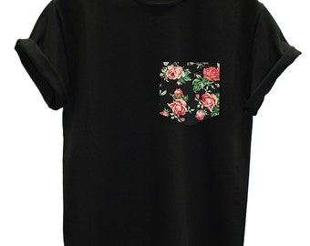 Red & Black Vintage Rose Floral Print Pocket T-shirt Top Tee Hipster Indie Swag Dope Hype Black White Mens Womens Cute Pocket Shirt