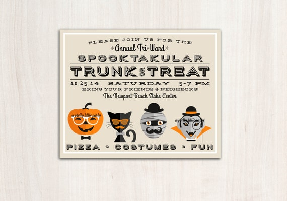 Trunk or Treat Halloween Poster - Hipster Halloween Party  - Printable Party Supplies
