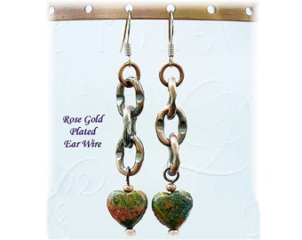Chains and Hearts Earrings, Copper Earrings, Unakite Earrings, Unakite Jewelry, Fourth Chakra Jewelry. Scorpio Birthday Gift