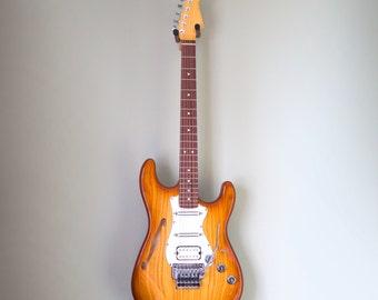 Swamp Ash Chambered Honeyburst F-hole Electric Guitar
