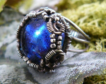 Dichroic Glass Ring ~ Glass Cabochon Ring ~ Blue Wire Wrapped Ring ~ Blue Dichroic Glass ~ Dichroic Cabochon Ring ~ Wire Wrapped Ring