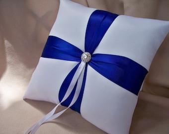White Royal Blue Wedding Ring Bearer Pillow Rhinestone Accent