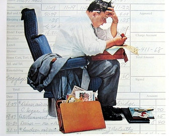 Expenses, The Doctor's Office - Large Norman Rockwell Print - 1979 Vintage Book Page - Saturday Evening Post Cover - 14 x 12