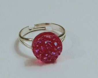Faux Pink Druzy Ring