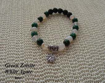 FREE SHIPPING Essential Oil Diffuser Bracelet Green Zoisite and White Agate