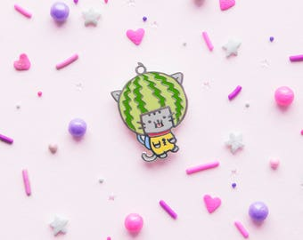 Watermelon Cat Pin - Hard Enamel Pin - Lapel Pin - Space Cadet