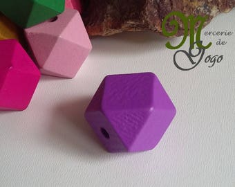 Color 2 * 2 cm purple Hexagon wood bead.