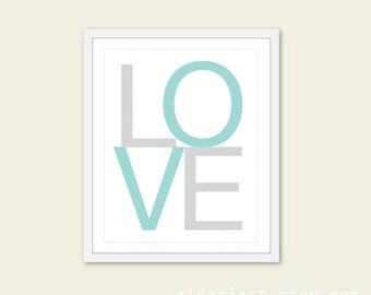 Love Print Love Wall Art Typography Poster Nursery Print Nursery Decor Nursery Wall Art Custom Color Print Grey and Blue Nursery Art