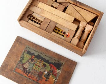Victorian toy blocks, antique building blocks toy with box