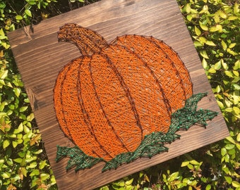 Pumpkin String Art Wood Sign, Rustic Fall Decor, Pumpkin Patch, Fall Decor, Autumn, Seasonal Decor