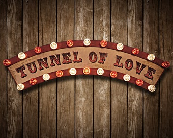 Tunnel of Love Fairground Sign (Relic // Patina // Fun Fair Sign & Light // Vintage themed // Wedding // Distressed // Wall Decor)