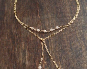Gemstone Lariat Necklace in Gold, Y Necklace, Pink Sunstone Necklace,  Gemstone Choker, Collier Pierres