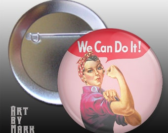 Rosie the Riveter Pink We Can do It  Pinback Button