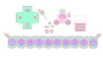 Princess Birthday Kit. SVG, digital file cut Silhouette