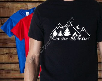 Tshirt unisex kids 2T at 16 - CAMPING - life is beautiful (mountains, trees, tent)