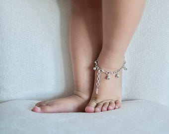 Baby Anklet with Bells | Silver Jingle Bell Bracelet, First Birthday Trendy Baby Gift, Cake Smash, Flower Girl, Gypsy Baby, Baby Girl Gift